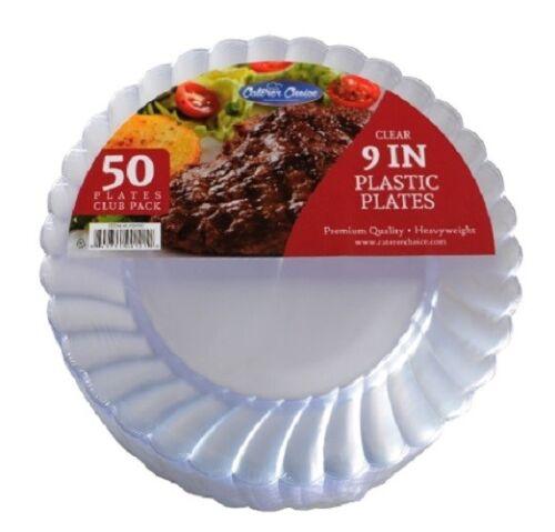 "300 9/"" Clear Heavy Duty Plastic Disposable Dinner Plates Caterers Choice /""Bulk/"""