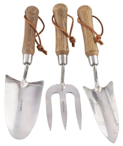 Garden Gear Hand Tool 3pc Set Steel Gardening Trowel Fork Transplanting Planter