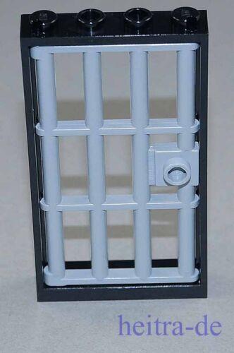 Tür Rahmen schwarz 1x4x6 mit Gittertür hellgrau 60596  60621 NEUWARE LEGO