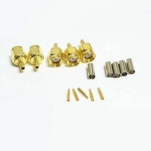 100x SMA Male Plug Connector Crimp RG174 LMR100 Cable Straight Adapter US