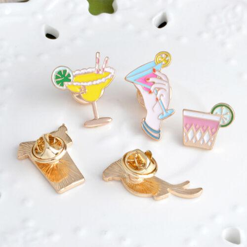 5 Piece//Set Alloy Cartoon Bird Lemon Cup Drink Enamel Brooch Fashion Jewelry