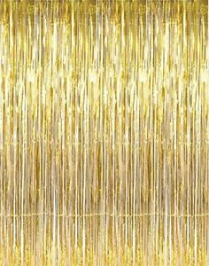 VFENG 3ft x 8ft Gold Metallic Tinsel Foil Fringe Curtains for Party Photo Pack 2