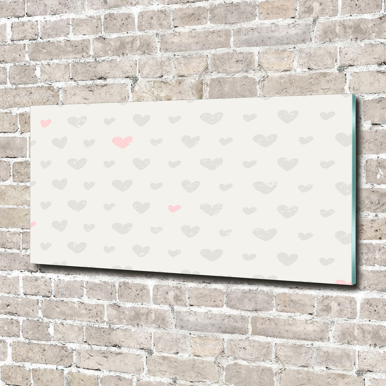 Glas-Bild Wandbilder Druck auf Glas 140x70 Deko Kunst Herzen