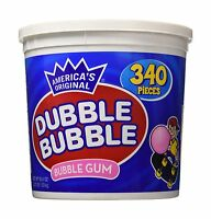 Dubble Bubble Gum 53.9 Ounce - 340 Count Bucket Free Shipping