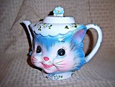Whimsical Kitty Cat Teapot Miss Priss Lefton 1516 4 Cup Kitten Blue Floral Cap