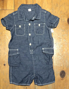 Nwt Baby Gap Boys 6-12 Months Chambray Lightweight Denim Shorts Romper
