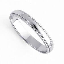 Men's Women's Solid 14K White Gold Milgrain Wedding Ring Band 3MM Size 8