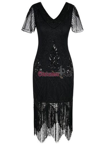 Ladies 20s 1920s Roaring Black Flapper Costume Sequin Gatsby 1920/'s Fancy Dress