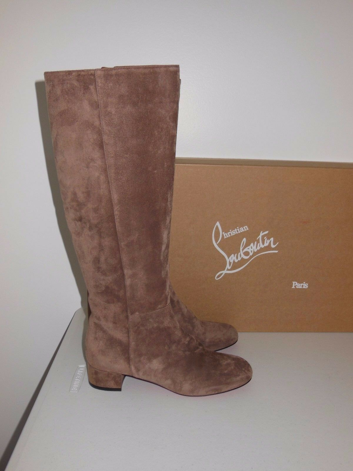 CHRISTIAN LOUBOUTIN LILI SUEDE 30MM KNEE HIGH BOOTS SIZE 39.5