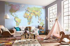 no tejido Gigante FONDO DE PANTALLA 368x248cm de mapa del mundo PARED MURAL