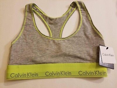 differently competitive price cheap sale NEW CALVIN KLEIN LOGO BAND NEON YELLOW GREY SPORTS BRA BRALETTE CROP TOP  SMALL   eBay