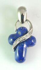 18 kt white gold Lapis Lazuli Cross pendant with CZ