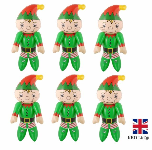 6 x inflatable elves christmas decoration blow up doll santa helper elf toy gift