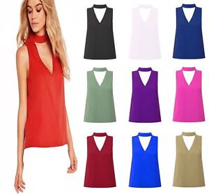 18f596f5ad5259 New Womens Choker V Neck Collar Cut Out Plunge Sleeveless Blouse ...