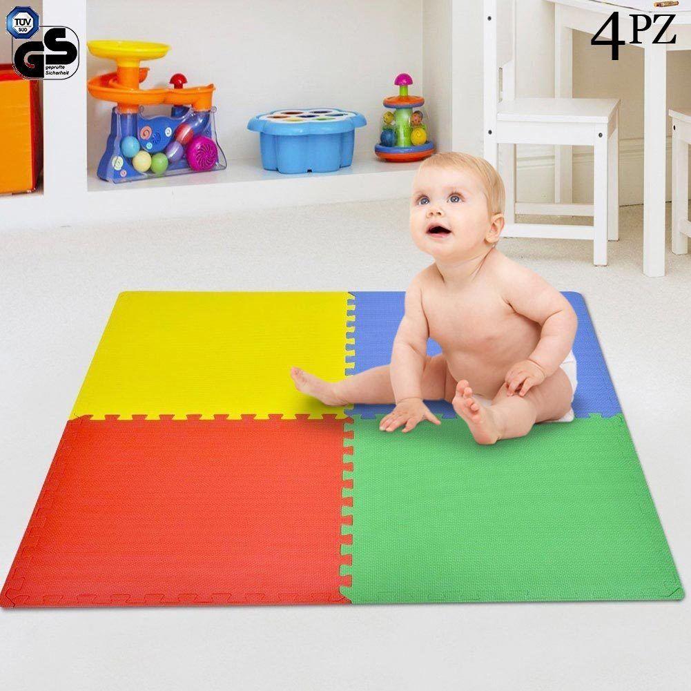 Tappetino Tappeto Puzzle Maxi Couleurati Gioco Bambino Set 4pz 60x60cm Gomma EVA
