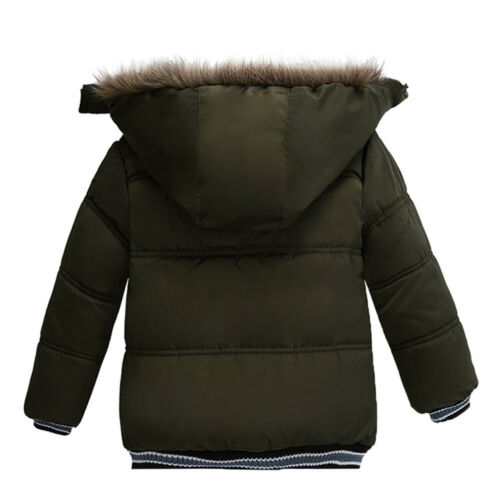 Kids Baby Boy Winter Warm Coat Fur Hooded Thick  Jacket Cotton-padded Outwear US