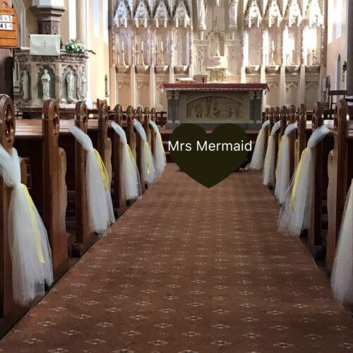 Wedding Church Pew Fin Tulle Bows.. tous Ruban Couleurs Disponibles