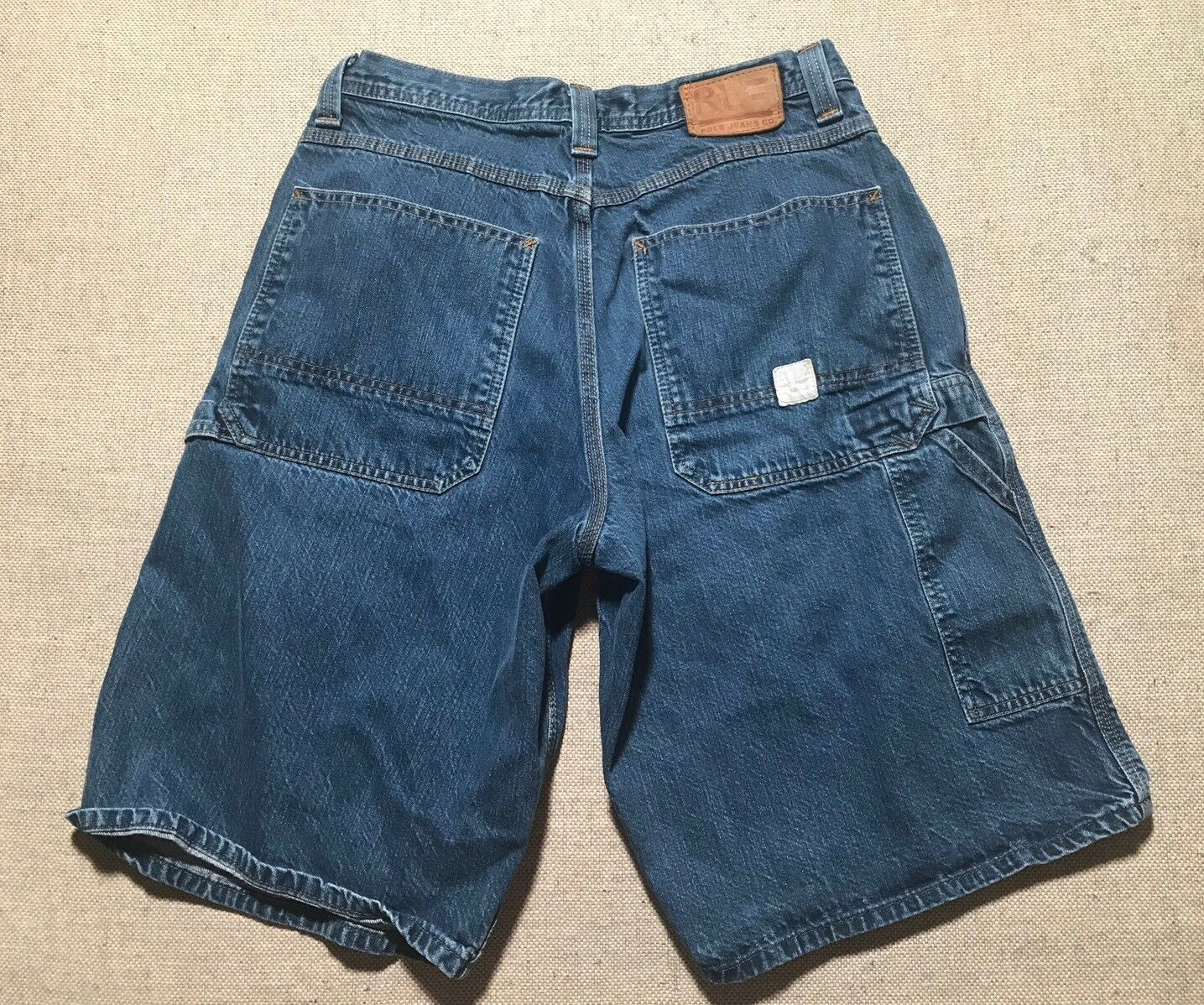 VTG RL POLO JEANS CO. Ralph Lauren bluee Denim Carpenter Shorts Size 34  J4