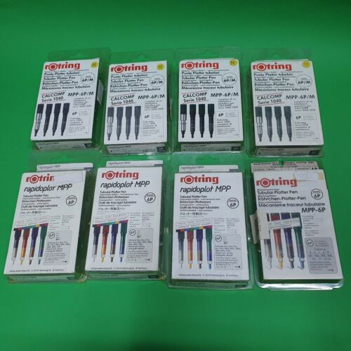 rOtring Rapidoplot MPP Tubular Plotter Pen Paper 6P Different Sizes and Colors
