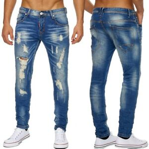 herren jeans ripped destroyed denim blue l cher stonewashed slim zerrissene hose ebay. Black Bedroom Furniture Sets. Home Design Ideas