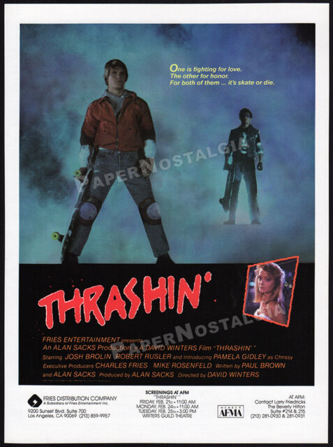 THRASHIN'__Original 1986 Trade AD / screening promo__JOSH BROLIN__skateboarding