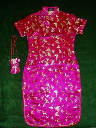 Ragazze Farfalla in Raso Abito Cinese Nero Rosa Rosso Turchese Blu 9 M-16 anno