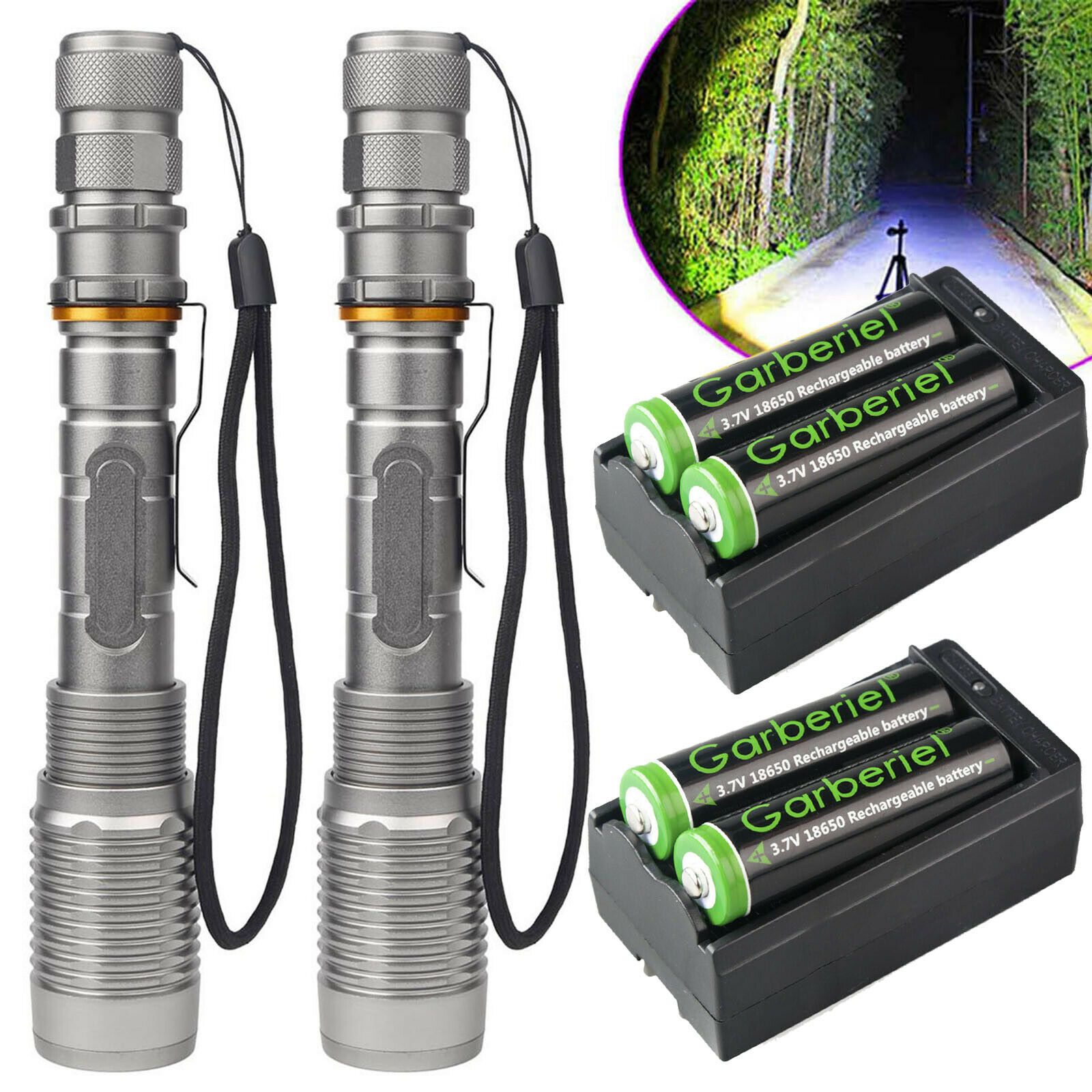 350000Lumen  LED Flashlight 5 Modes Zoom Torch Rechargeable 18650 Charger