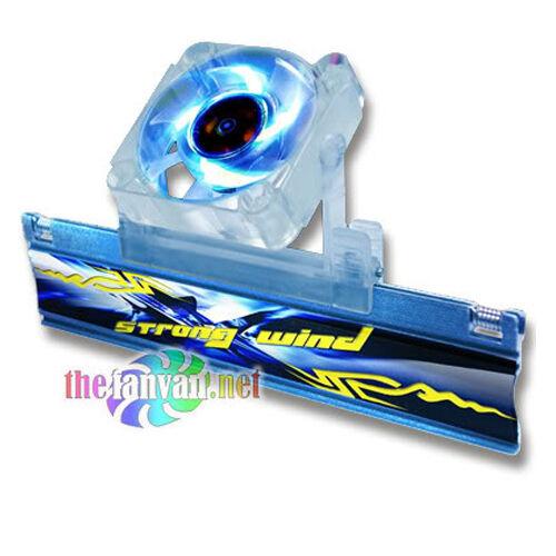 Evercool Aluminum Ram Chip Heatsink w// Blue Led Fan ***USA SELLER***