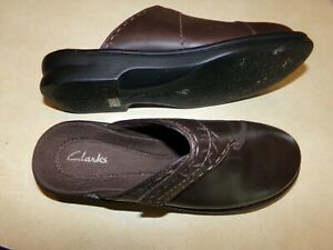 492817add3a1d Details about Clarks Dark Brown Leather Mules Clogs Slides Women's Size 8M