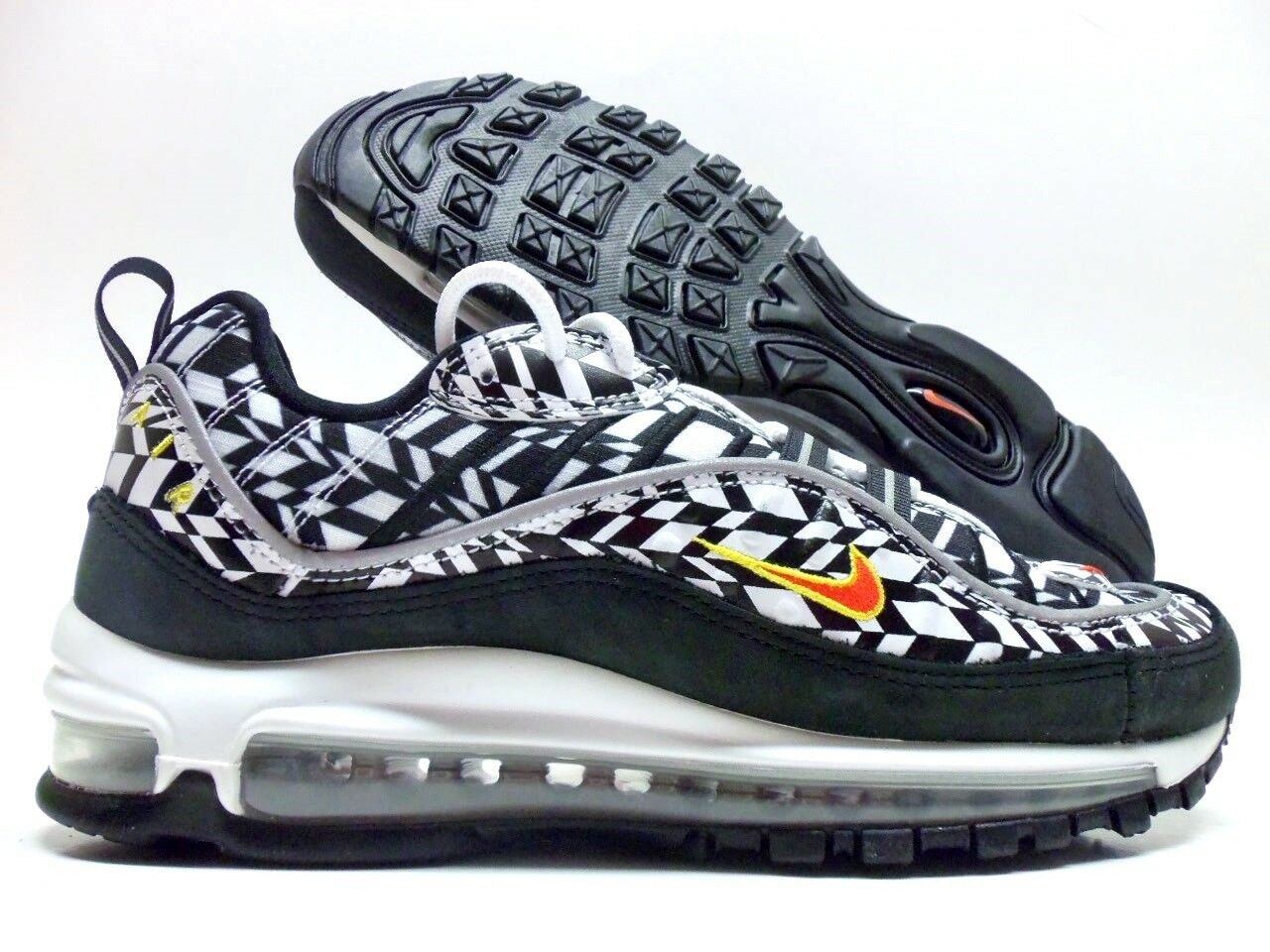 NIKE AIR MAX 98 AOP WHITE TEAM orange-BLACK SIZE MEN'S 12 [AQ4130-100]