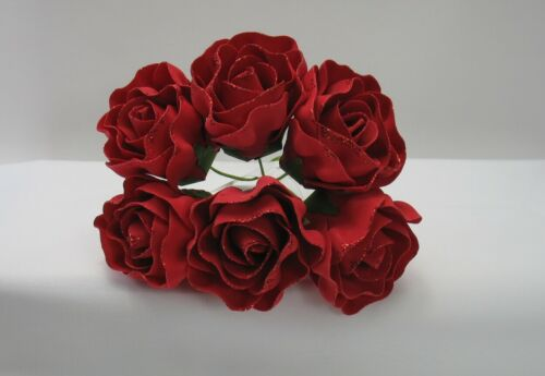 Flower Ruby Red Bunch x 6 Heads  6 cm Swirl Glitter Roses Grey Christmas Red
