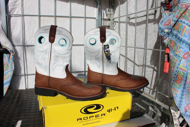 41-19 New Roper Riderlite WOMENS size 10 western boots White - Brown