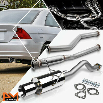 """4/"""" MUFFLER TIP STAINLESS STEEL CATBACK EXHAUST SYSTEM FOR 11-15 CRZ CR-Z ZF1"""