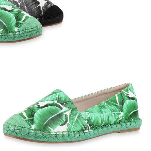 Damen Slipper Espadrilles Prints Pflanzen Bast Freizeit Schuhe 817878 Top