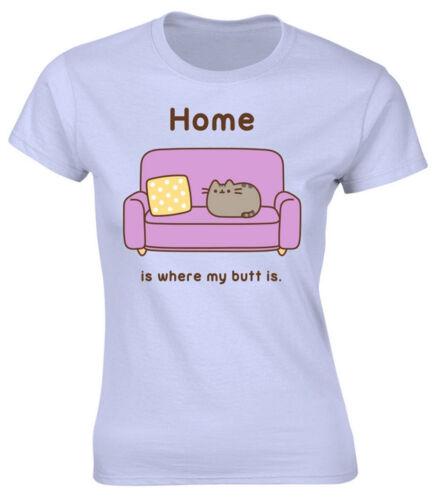 """pour Femme Ajusté T-shirt-NOUVEAU /& OFFICIEL! Bleu Pusheen /""""Home/"""""""