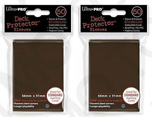 100-2pk-ULTRA-PRO-Deck-Protector-Card-Sleeves-Magic-Pokemon-Standard-Brown