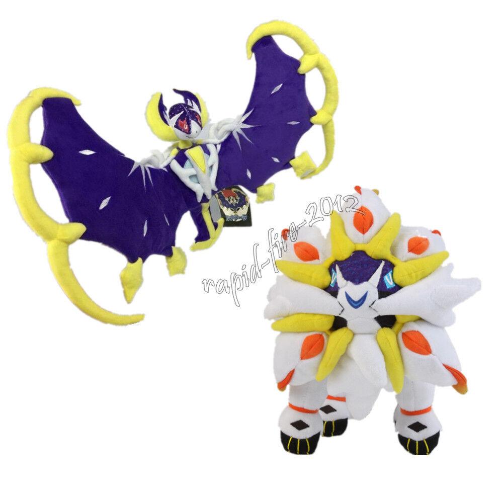 2pcs Pokemon Lunala + Solgaleo Plush Doll Figure Stuffed Toy Sun and Moon Gift
