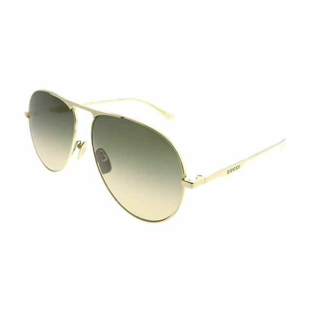 7d888cb985 New Authentic Gucci GG0334S 001 Gold Metal Aviator Sunglasses Brown Gradient