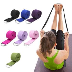 180CM-Sport-Yoga-Stretch-Strap-D-Ring-Belt-Gym-Waist-Leg-Fitness-Adjustable-New