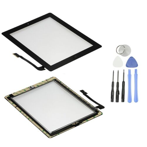 Black Front Glass Touch Screen Glass Digitizer Home Button Assembly for iPad 3