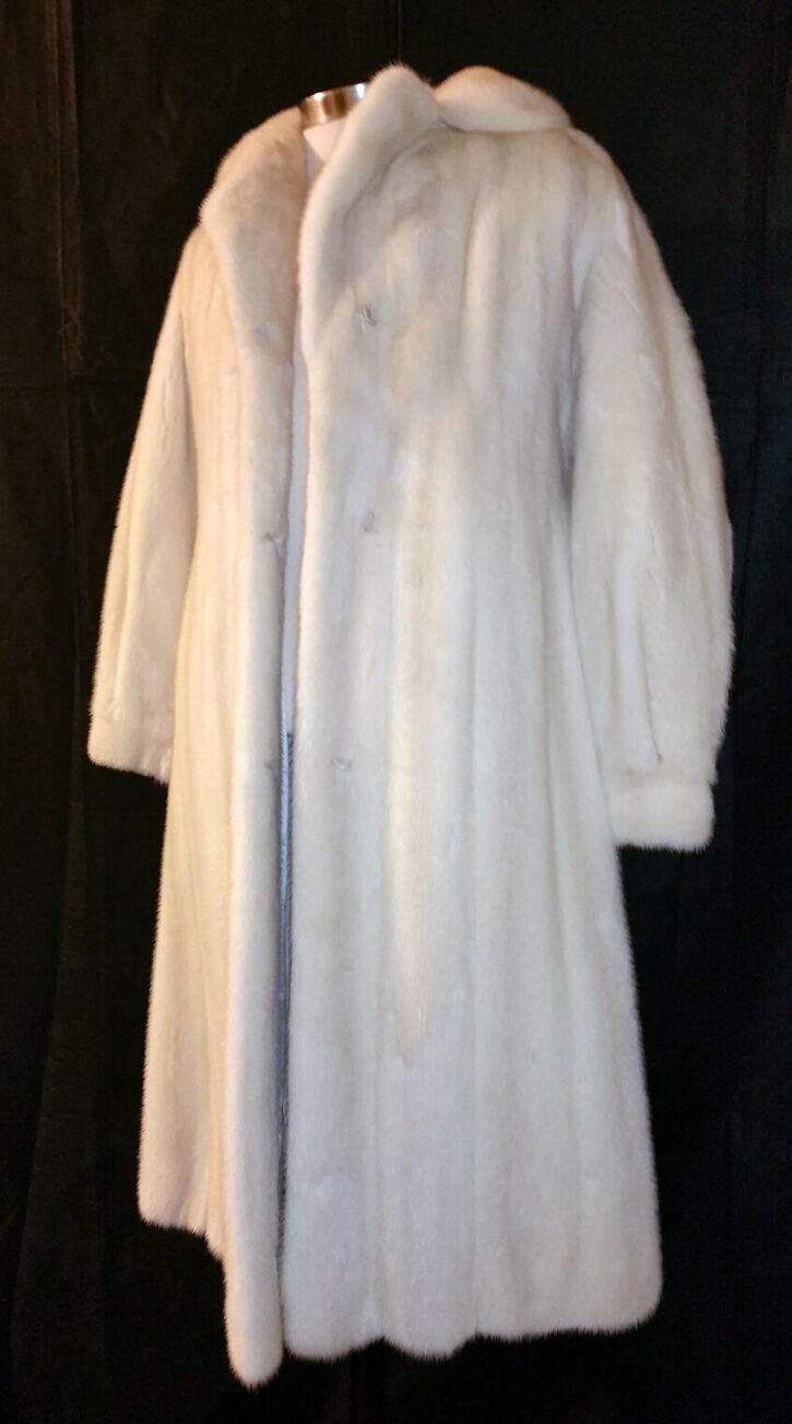 Vintage Women's Mink White Female Leisure Full Length Handmade Fashion Fur Coat
