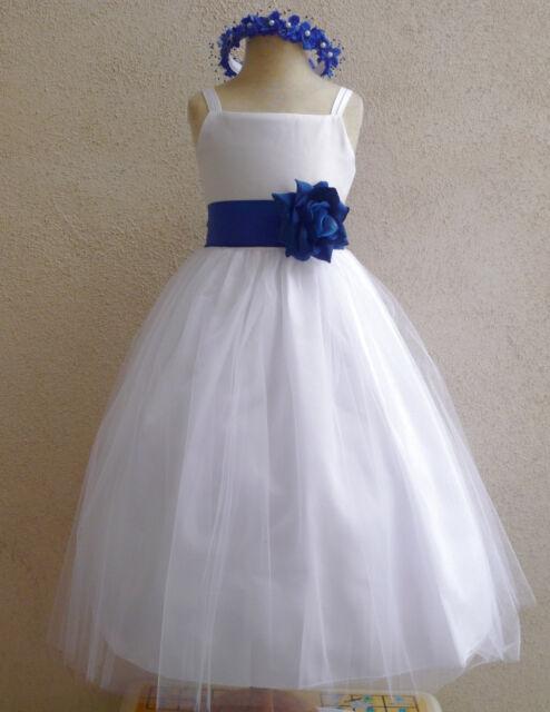 NWT WHITE ROYAL BLUE BRIDESMAID PAGEANT BIRTHDAY WEDDING PARTY FLOWER GIRL DRESS