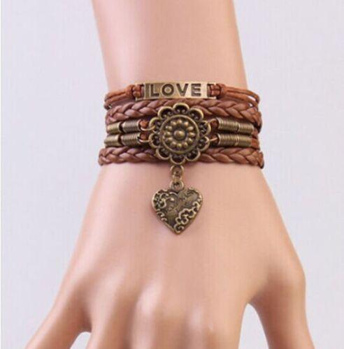 NEW Jewelry Fashion en cuir Mignon infini Charme Bracelet Argent Lots style pick