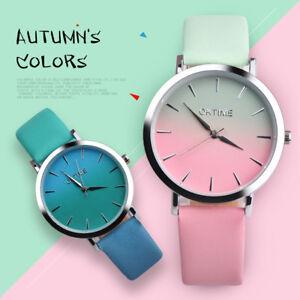 Fashion-Maedchen-Quarz-Leder-Armbanduhr-Damen-analog-bunte-Riemchen-suess-Uhr
