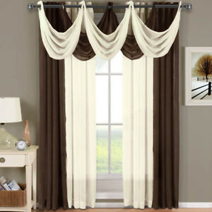 Image Is Loading Abri Grommet Crushed Sheer Curtain Panel Window Treatment