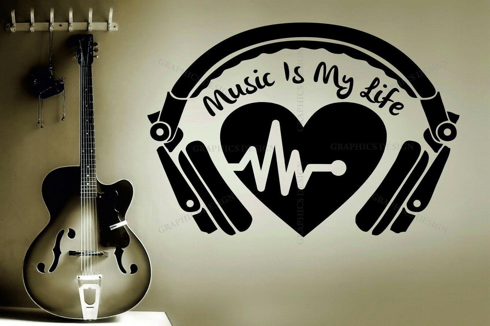 Headphone Heartbeat Music Is My Life Quote Decorative Vinyl Wall