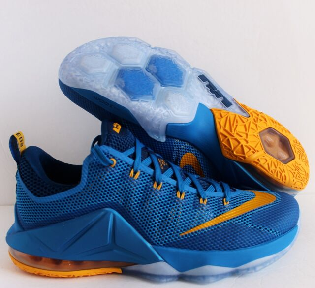 new product 793df 1cfd1 NIKE LEBRON XII LOW PHOTO BLUE-UNIVERSITY GOLD-GYM BLUE SZ 11  724557