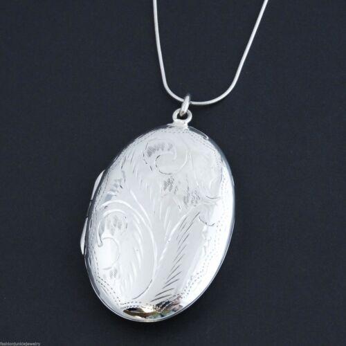 925 Sterling Silver Large Oval Photo Locket Necklace 2 Photos Keepsake SN