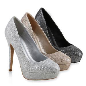 Damen-Party-Pumps-Plateau-High-Heels-Glitzer-Stilettos-814269-Schuhe