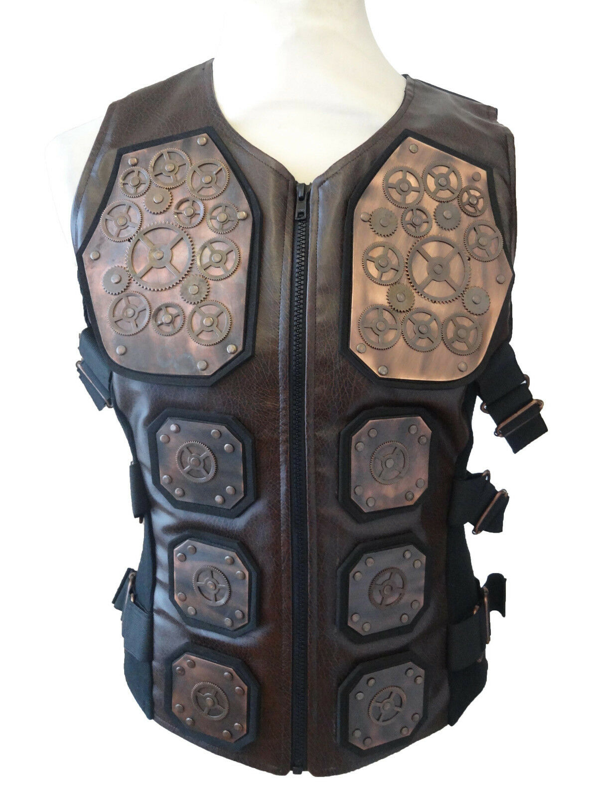 Steampunk industrial SDLlarp amour Waistcoat copper metal cogs size XL chest 46